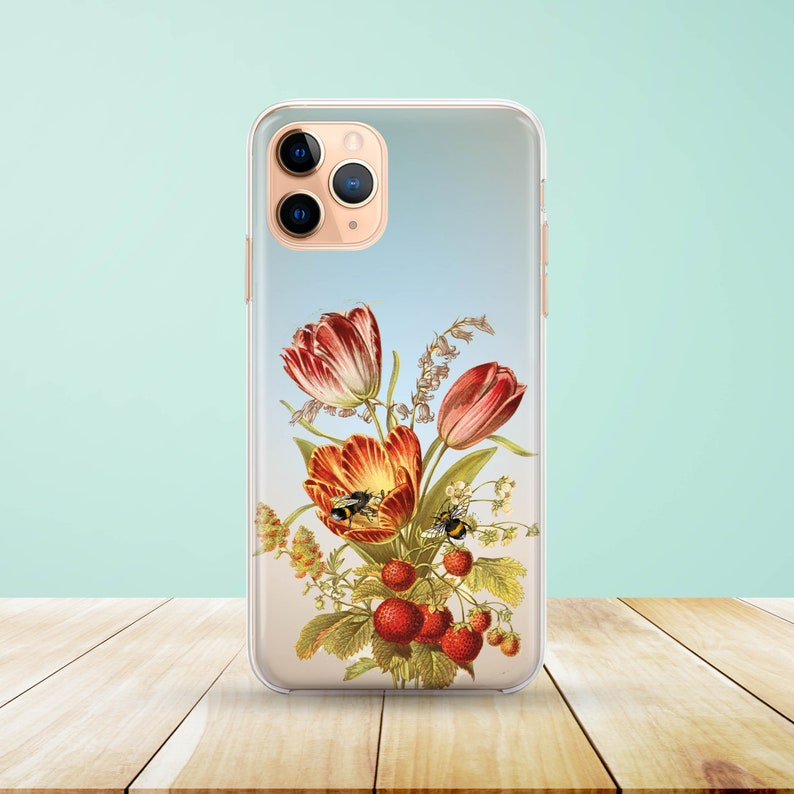 Floral Red Flowers and Bees Samsung iPhone  Case available for iPhone 11 XS Max Huawei P30 XS XR J7 Samsung S20 A5