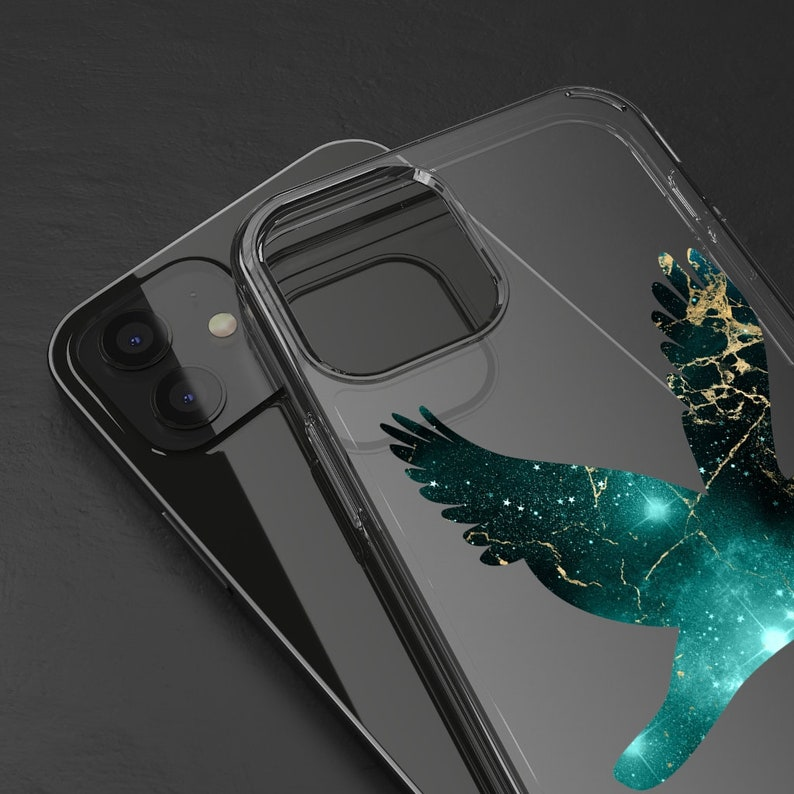 Samsung S20 Turquoise Galaxy Flying Dove Clear Phone Case available for iPhone 12 iPhone 12 Pro XS XR XS Max Huawei P30 J7 iPhone 11