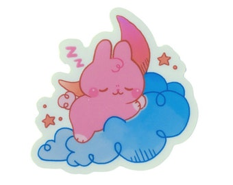 Sleepy Bunny Clear Sticker - Sleeping Rabbit Decal - Self Care Gift - Great for Mental Health Care Package!