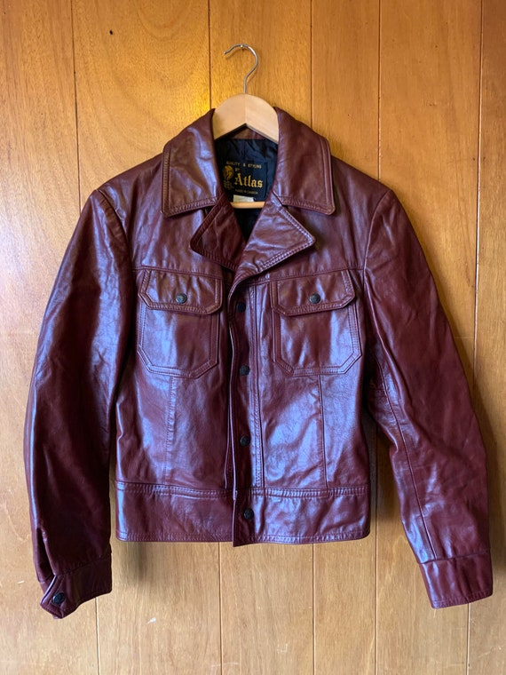 Vintage 1970's burgundy leather jacket