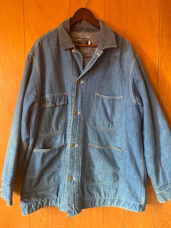 Vintage 60s Sears Denim Chore Coat / Jacket Blanke