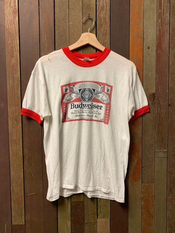 Vintage 1970s Budweiser Ringer T shirt.