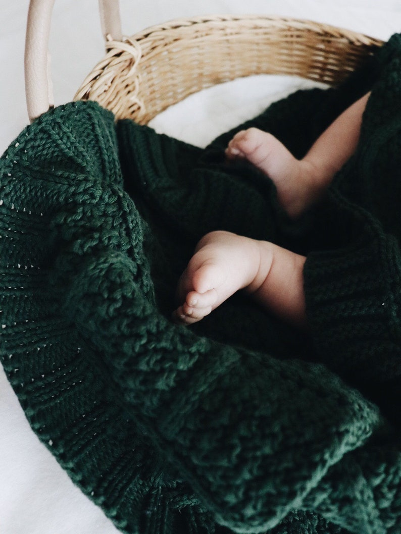 Forest Green Knitted Baby Blanket Diamond Knit Nursery Decor