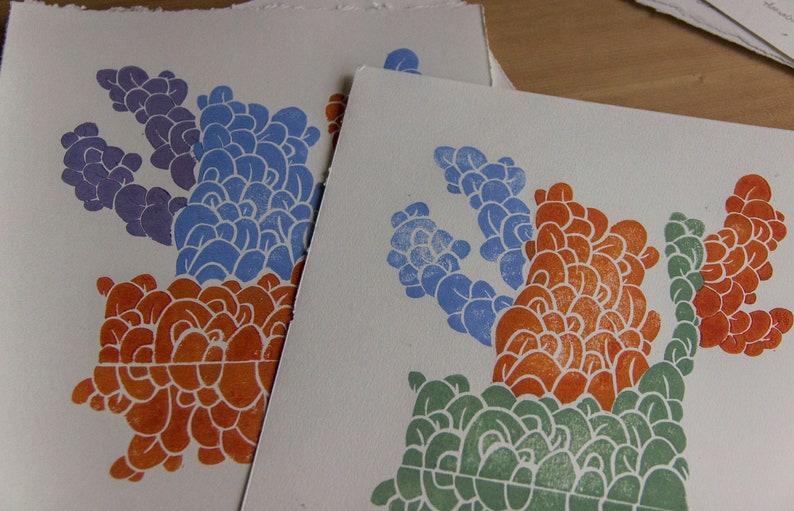 Coral Puzzle Handmade Linocut