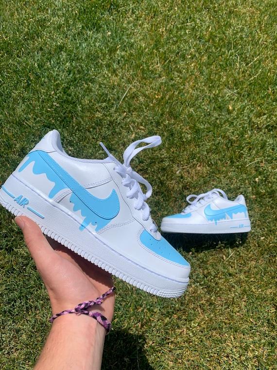 Custom Light Blue Drip Nike Air Force 1 /Custom AF1s/ Custom sneakers