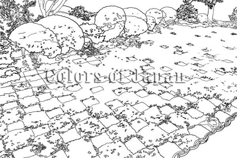 Japanese Garden Coloring Pages  Printable Art for Adults image 0
