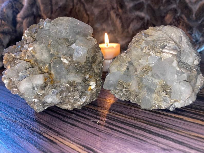 Aquamarine on mica rough specimens large size