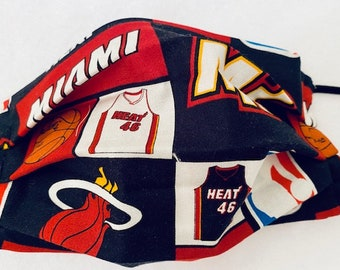 Miami Heat Face Mask With Filter Pocket Etsy