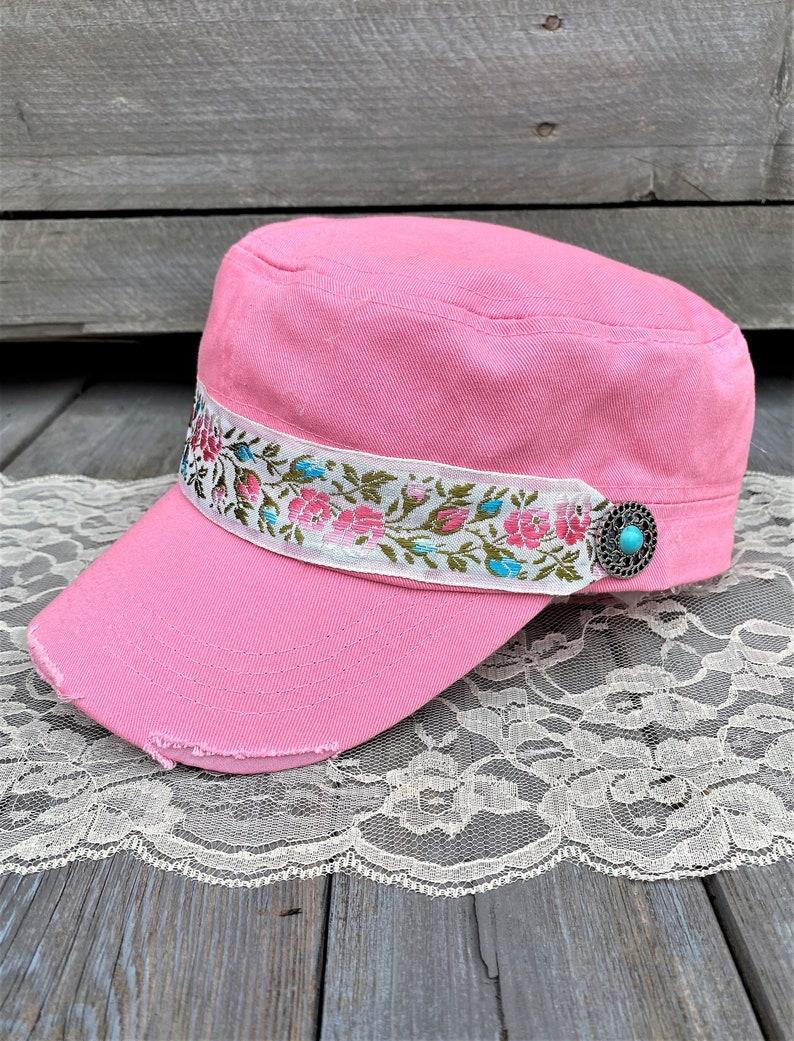 Pink Cadet Hat For Women Distressed Cadet Cap Women/'s Cadet Cap Military Style Hat Turquoise Charm Trim Flower Headband