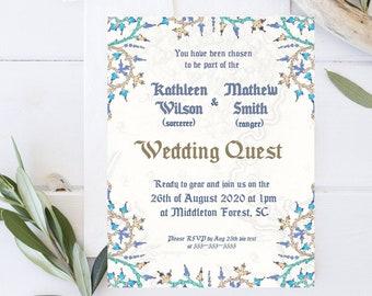Editable Medieval Wedding Invitation Template, Save the date Invite_Wedding Quest Printable Invite_Geek Wedding Middle Age Fantasy Invite