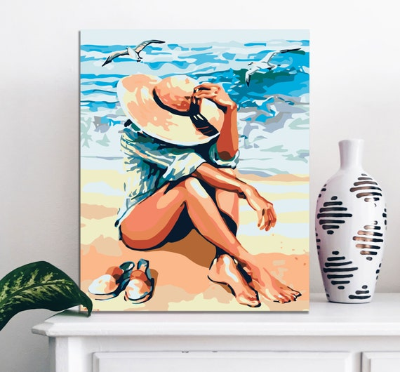 Girl In A Hat Sea Shore Canvas Painting Art Design Picture Diy Etsy