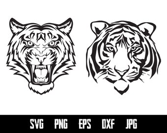 Tiger SVG Cut File Tiger Head Vector Svg Digital File Animal Print Silhouette Printable Images Digital Svg Eps Png Ai Pdf Jpg Files HP0213