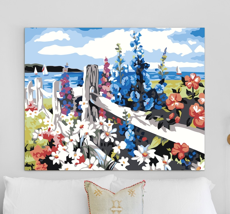 Floral Garden Fence Scenery Paint by Numbers HandMade Picture Divided by Number Own Painting for Adult Unique DIY Set Paint on Canvas HP0175