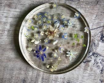 Resin Coaster, Resin Petri, Resin Flower Coaster, Real Flower Resin Coaster, Dried Flowers, Housewarming Gift