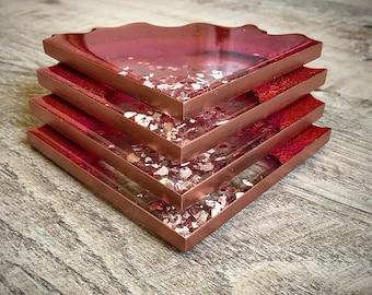 Resin Geode Coasters, Geode Coasters, Resin Coasters, Set of 4, Geode Agate Slice Coasters, Housewarming Gift