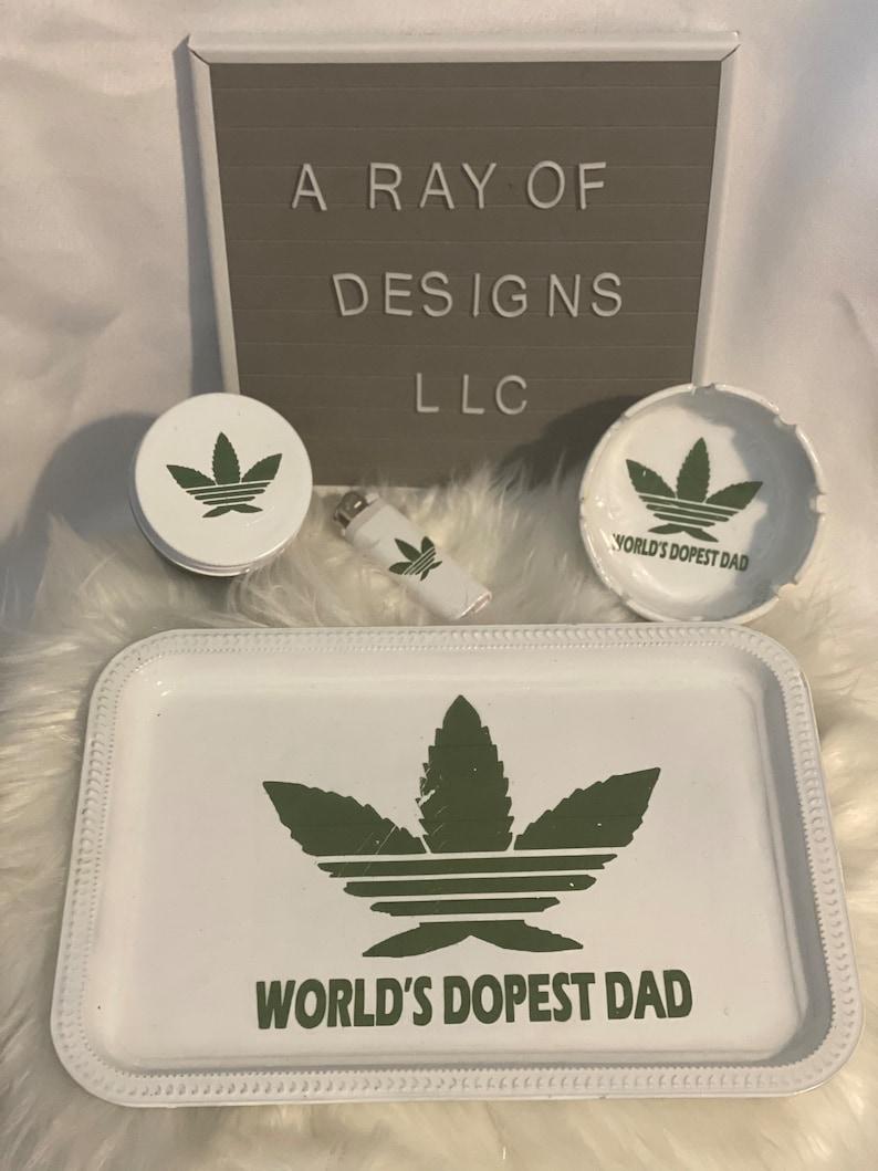Rolling Tray Set \u201cWorld Dopest Dad\u201d
