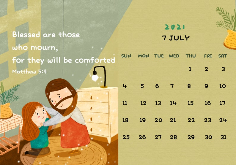 2021 Bible Verse Calendar printable calendar 2021 wall | Etsy