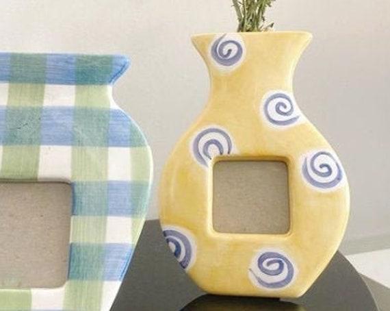 1996 Postmodern Terragraphics Inc Photo Frame/Vase Yellow with Blue Swirls