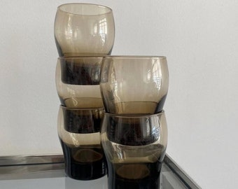 1980s Glamour Smoked Glass Tumblers