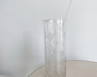 Vintage Frosted Diamond Checkered Pitcher with Stirrer