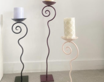 1990s Wavy Spiral Postmodern candle holder dishes