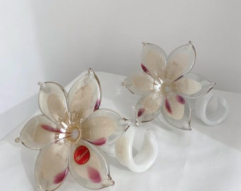 Two Murano glass flower bud vases one with its sticker