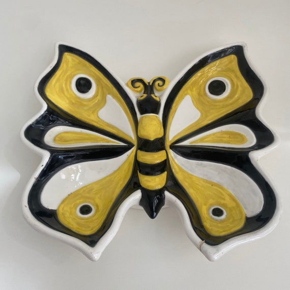 1986 Vintage Butterfly Ceramic Serving Dish or Catch-all