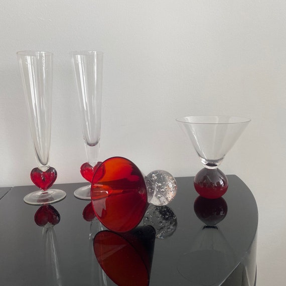 Two Bubble Bottom Cocktail Glasses in Red