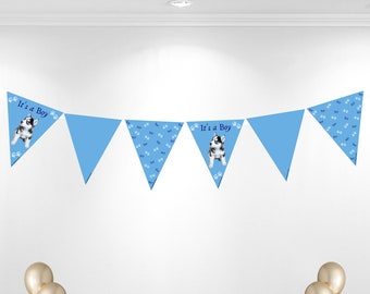 It's a boy husky theme bunting banner.