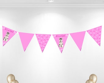 It's a girl husky theme bunting banner.