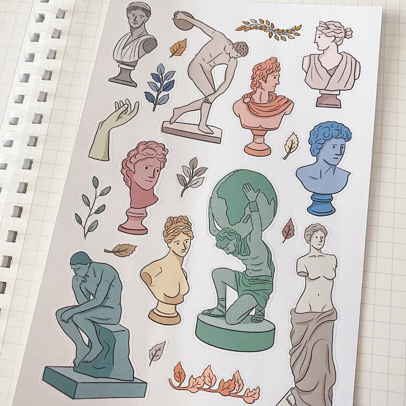 GREEK SCULPTURE sticker sheet // aesthetic ancient museum art image 0