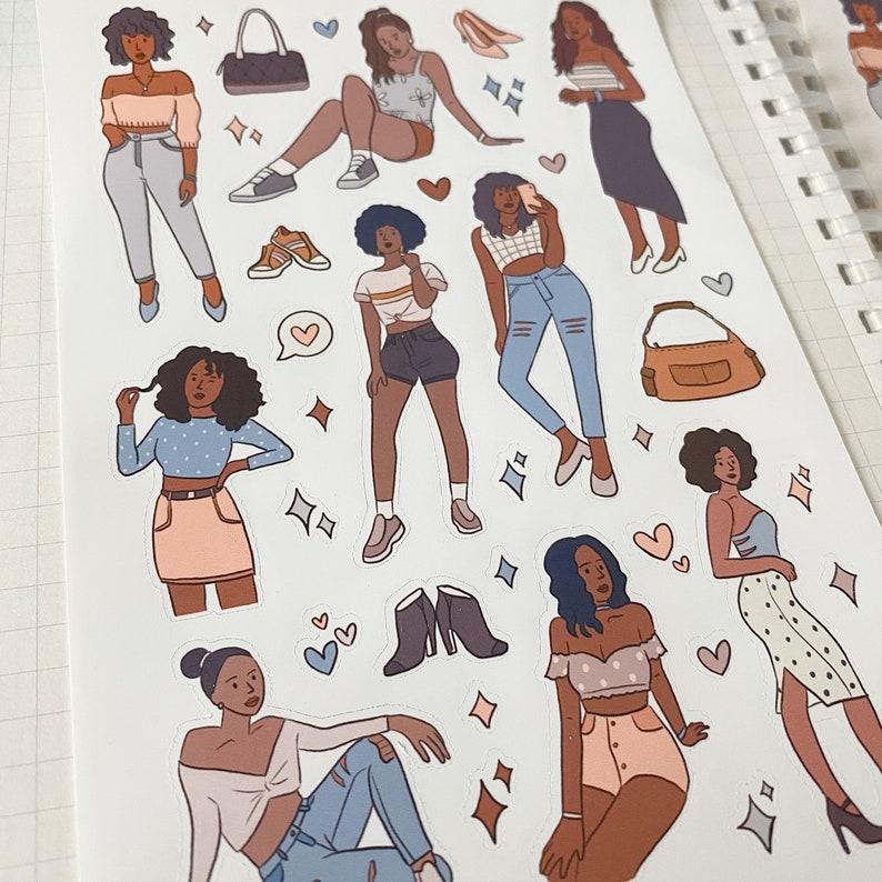 GLAM BLACK GIRL sticker sheet // aesthetic cute chic afro image 0