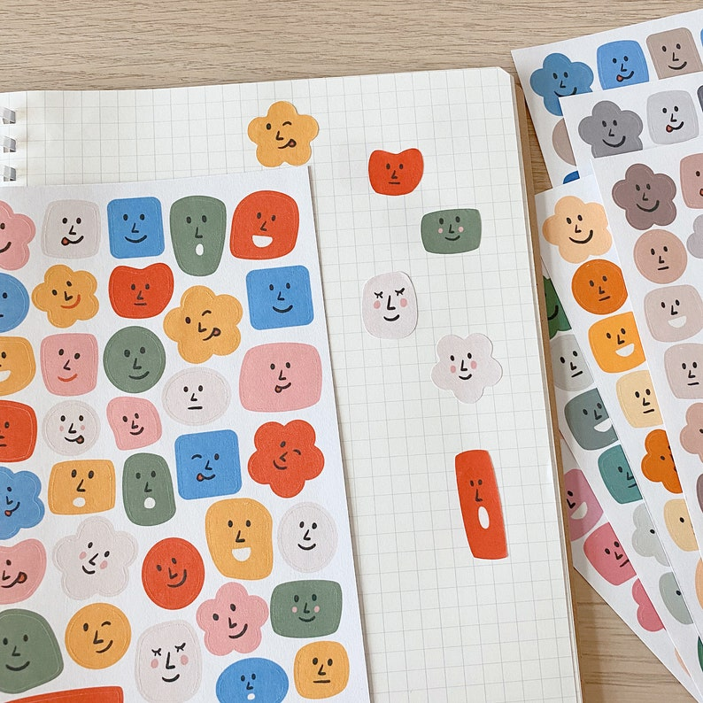 36 CUTE FACES sticker sheet 8 colour options // aesthetic image 0