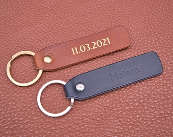 Personalized leather key chain, exquisite gift monogram handmade in France (Long Blue) | Custom key ring, edc keychain