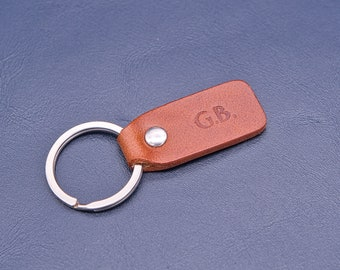 Personalized leather key chain, exquisite gift monogram handmade in France (Brown) | Custom key ring, edc keychain