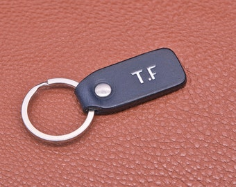 Personalized leather key chain, exquisite gift monogram handmade in France (Blue) | Custom key ring, edc keychain