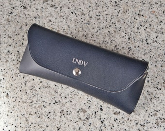 Personalized leather glasses case, exquisite gift monogram handmade in France (Blue) | Custom eyewear case | Firm sunglasses case