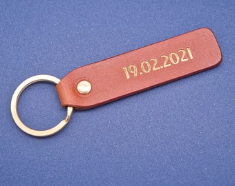 Personalized leather key chain, exquisite gift monogram handmade in France (Long Brown) | Custom key ring, edc keychain