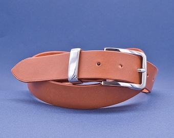 Personalized leather belt, exquisite gift monogram handmade in France (Brown) | Custom mens belt