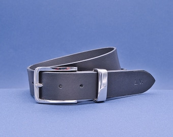 Personalized leather belt, exquisite gift monogram handmade in France (Black) | Custom mens belt