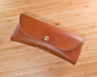 Personalized leather glasses case, exquisite gift monogram handmade in France (Brown) | Custom eyewear case | Firm sunglasses case