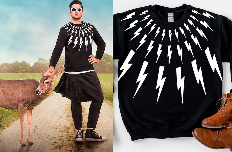 Top 27 Best Schitt's Creek Gifts from Etsy featured by top Seattle lifestyle blogger, Marcie in Mommyland: Lightning Bolt Sweatshirt Schitt's Creek Sweater image 0