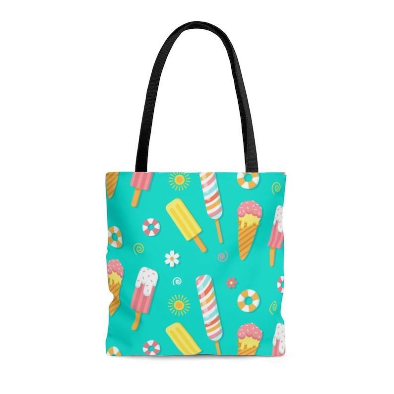 Cute Tote Bag For Women Fully Printed Bag Durable Shopper Bag Cyan Shoulder Bag Candy Shop Pattern KB00570