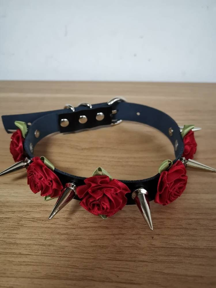 Heart Locket Spike and Flower Choker Flower Choker Heart Locket Choker Spiked Collar Punk Choker Spiked Choker Flower Collar
