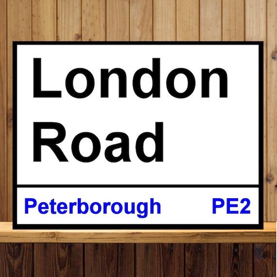 London Road Peterborough métal signe FOOTBALL VINTAGE SIGNE STYLE ANTIQUE SIGNE