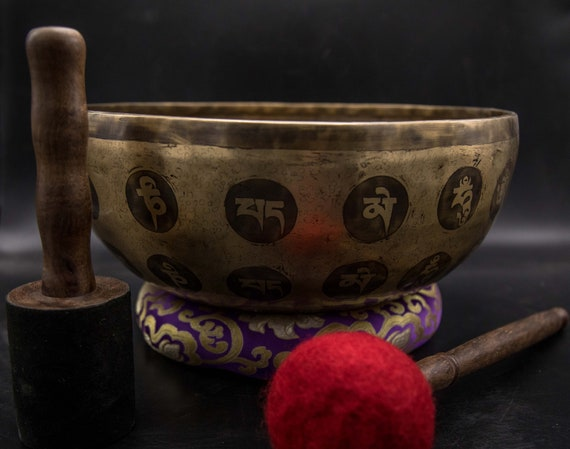 Tibetan singing bowl handmade in Nepal sound therapy. health and wellness meditation Special 12 inches Mantra singing bowl