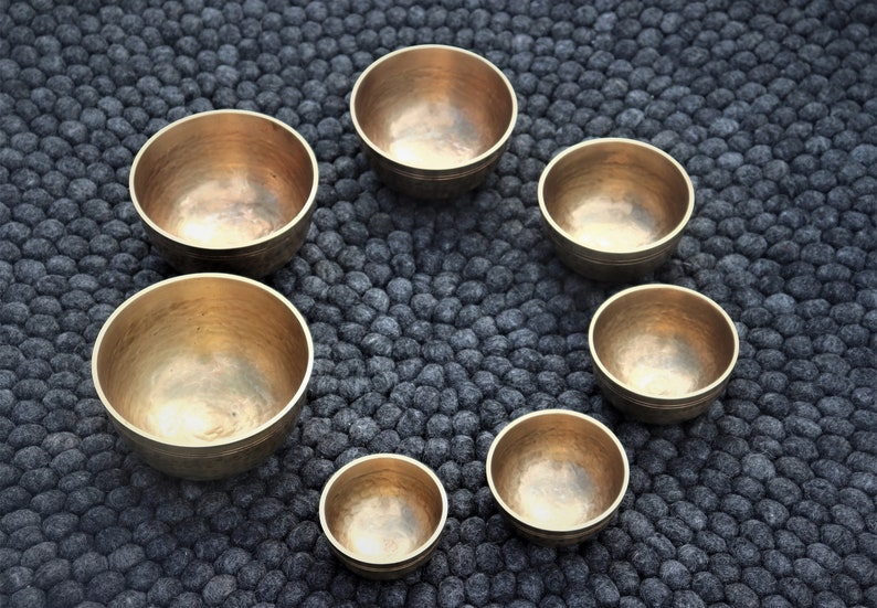 anxiety relief Tibetan singing bowls,health and wellness Stunning set of 7 singing bowls Handmade in Nepal peace and harmony meditation.