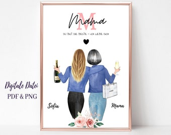 Mother Daughter Gift Picture Personalized | Best Mom Poster | Gift from daughter | Thank you Mom | Mom Birthday Gift