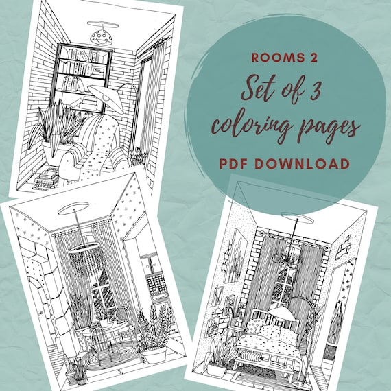 Rooms 2 Interior Coloring Pages Set Of Adult Coloring Pages Etsy