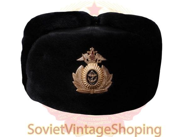 Leather hat Russian USHANKA Navy Fleet Captain win